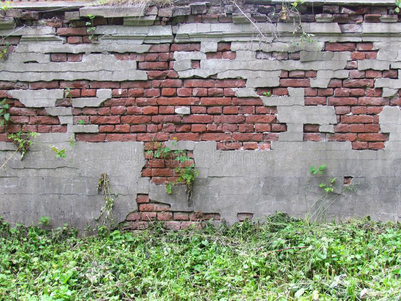 Old wall. Vintage decor. Old plaster and brick royalty free stock photography