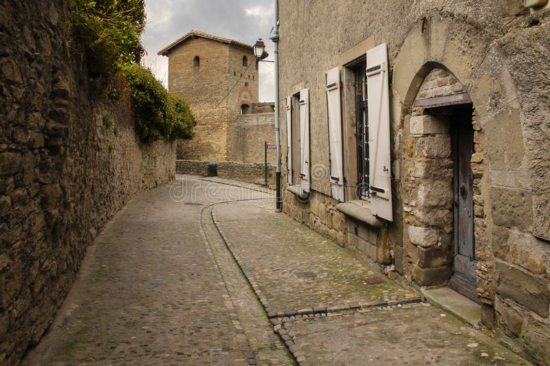 Old walled citadel. Roman towers. Carcassonne. France royalty free stock photography