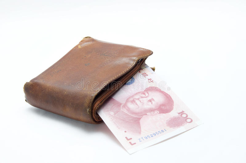 The old wallet. With china money stock photo