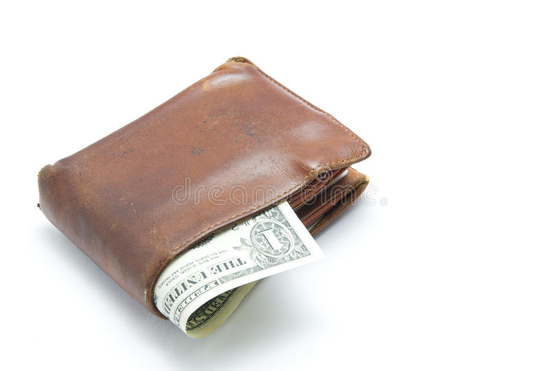 The old wallet. With US money royalty free stock photography