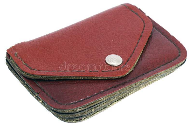 Old wallet. Old brown wallet on white background royalty free stock photos