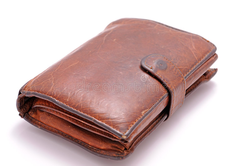 Old wallet. Isolated on white with shadow royalty free stock images