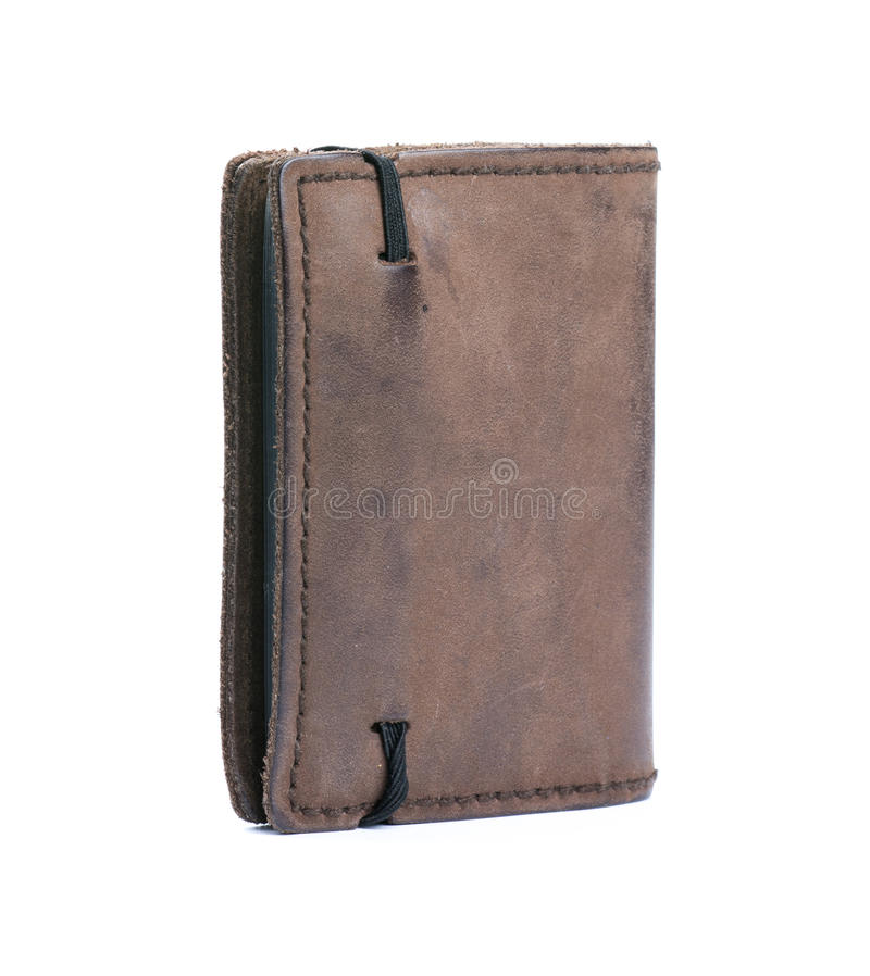 Old wallet. Isolated on white background stock photo