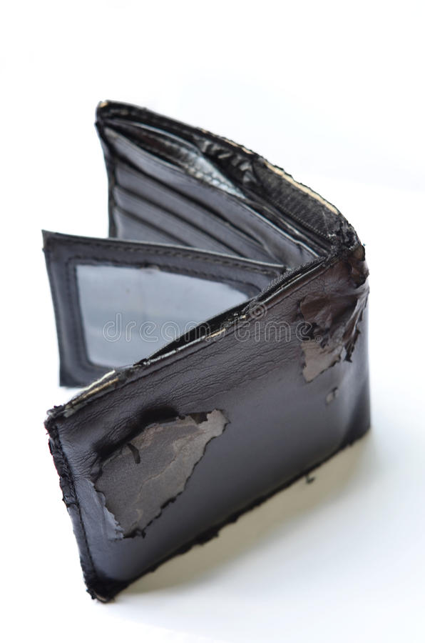 Old wallet. On white background royalty free stock image