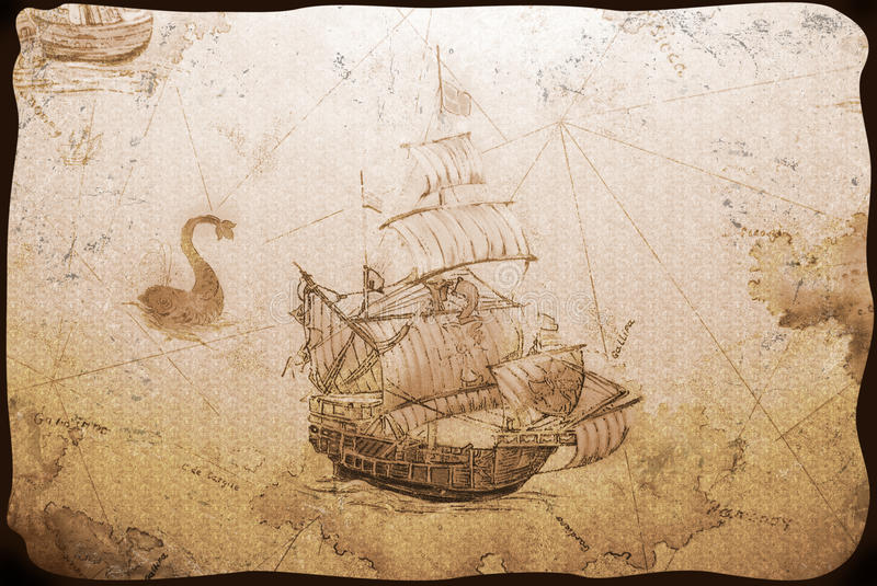 Old wallpaper. With the image of a sailing vessel royalty free stock photo