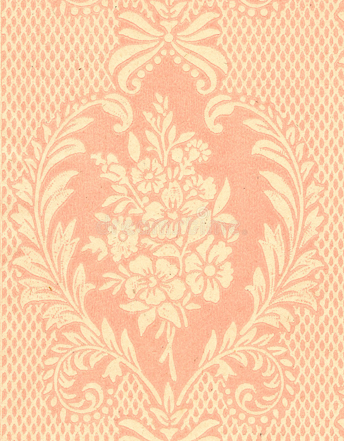Old wallpaper. Retro papery wallpaper decoration detail royalty free stock photo