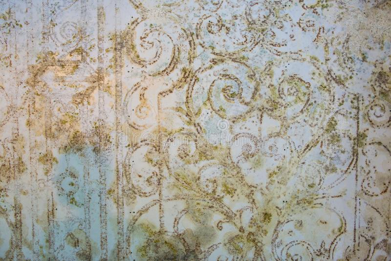 Old wallpaper with old flower design royalty free stock photos
