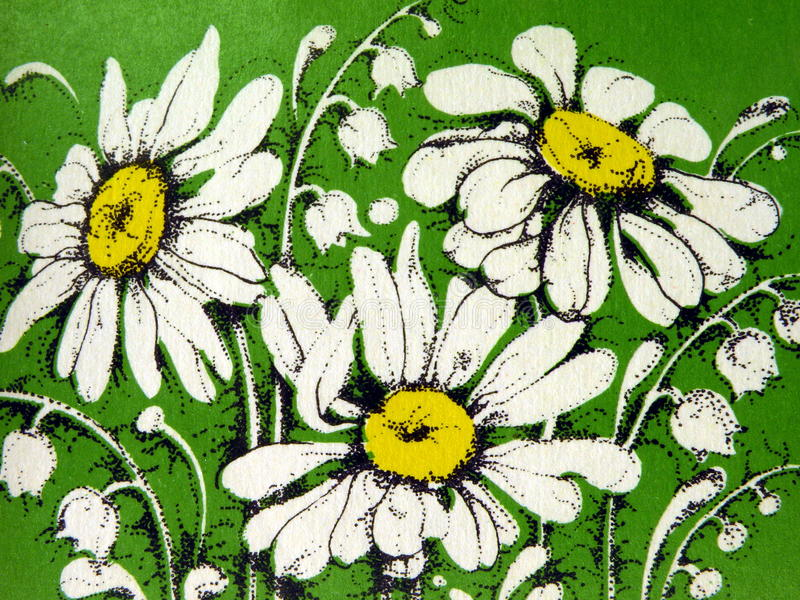 Old wallpaper. With white flowers royalty free stock photos