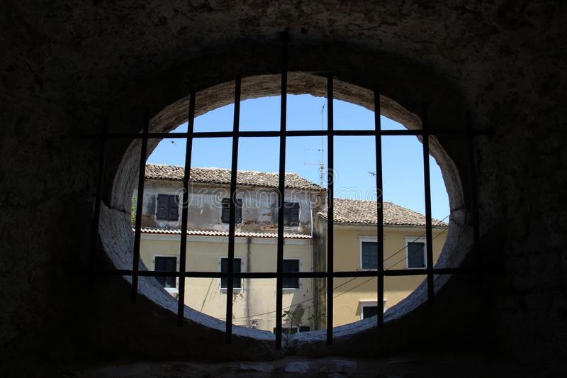 Old Walls And Windows. Old Historic Place With Ancient Walls And Windows In Fortress Corfu Island Greece stock photos