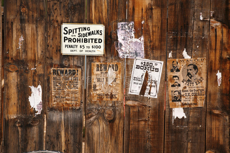 Old wanted poster 18xx royalty free stock photography