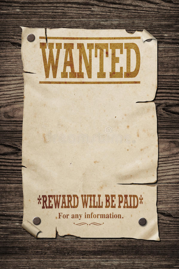 Old wanted sign. Old western wanted sign on wooden wall stock image