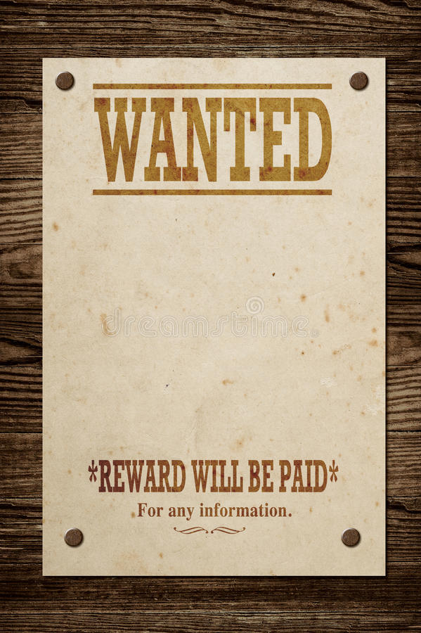 Old wanted sign. Old western wanted sign on wooden wall royalty free stock photography