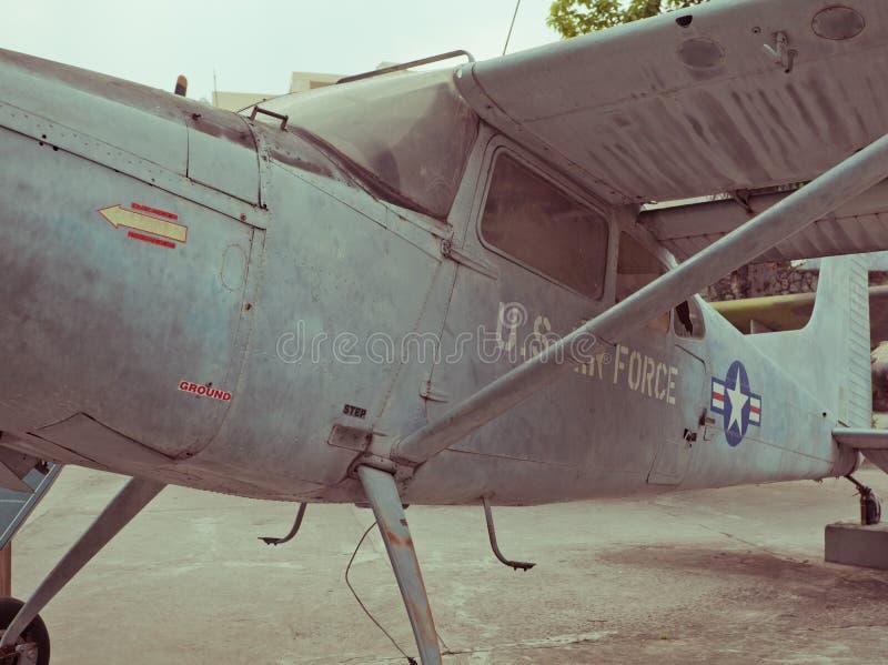 Old war Airplane. Vintage military old war airplane stock photo