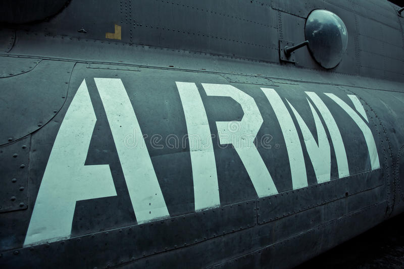 Old war Airplane. Text on an old war Airplane stock images