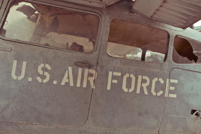 Old war Airplane. Text on an old war Airplane royalty free stock photography
