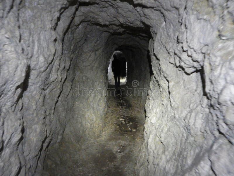 Old war tunel in sass di stria in dolomites stock photos