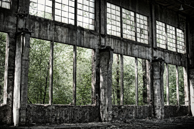 Old warehouse in retro style stock photo