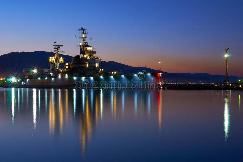 Old warship. In Novorossiysk Russia stock image