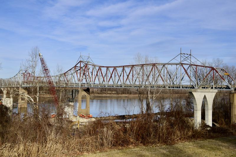 Old Washington Bridge. This is a Winter picture of the Old Washington Bridge over the Missouri River taken from Washington, Missouri in Franklin County. This 2 royalty free stock images
