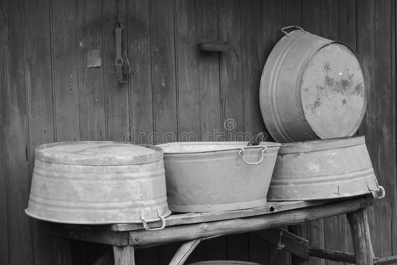 Old Washtubs stock photo
