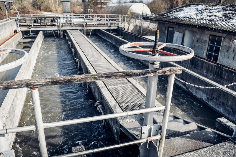 Old Waste water treatment plant.  royalty free stock images