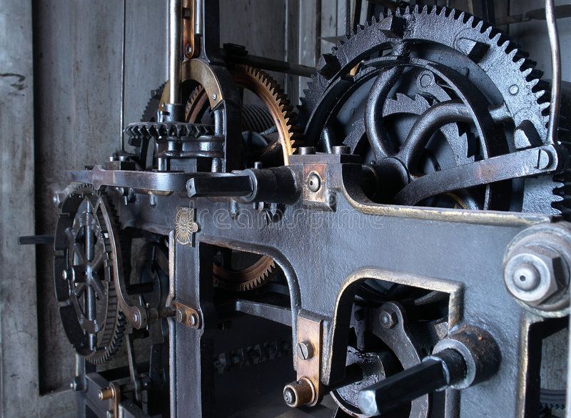 Old watch mechanism stock image