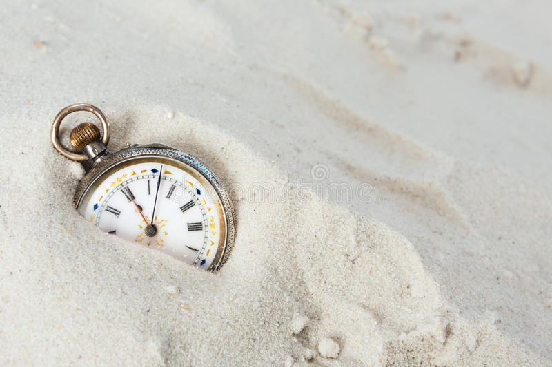 Download Old watch in the sand stock photo. Image of deadline - 35771822