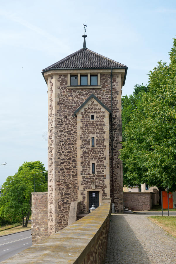 Old watch tower on Furstenwall. (river Elba embankment) in Magdeburg, Germany royalty free stock photos