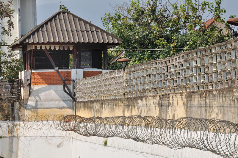 Old watch tower jail in town at Chiangmai. stock photos