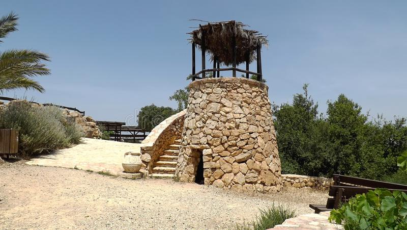 Old watch tower in Yad Hashmona, Israel.  royalty free stock photography