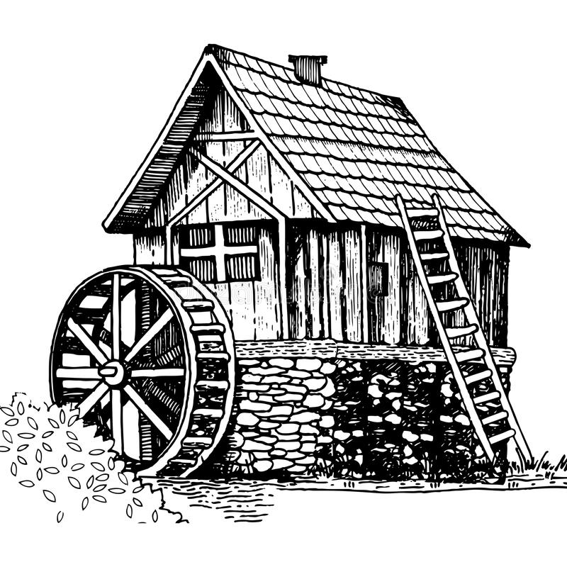Old water mill engraving style vector illustration. Old water mill engraving vector illustration. Scratch board style imitation. Hand drawn image stock illustration