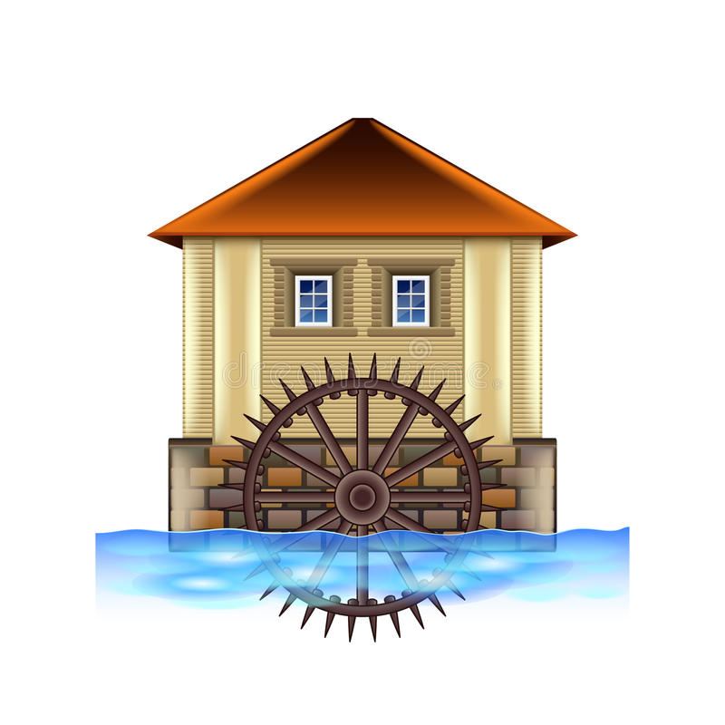 Free Old Water Mill On White Vector Stock Photography - 74139992