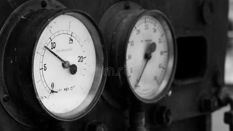 Old water pressure gauges stock images