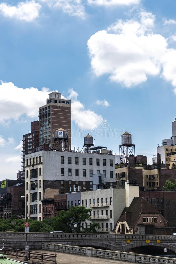 Old water tanks in Manhattan in New York City, USA royalty free stock image
