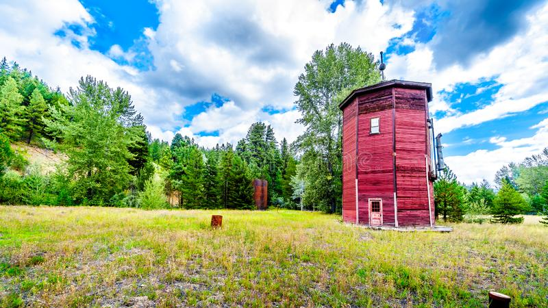 The old water tower of the Kettle Valley Railway of Brookmere in British royalty free stock photos
