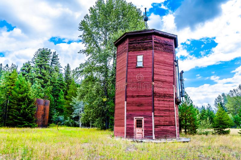 The old water tower of the Kettle Valley Railway of Brookmere in British royalty free stock image