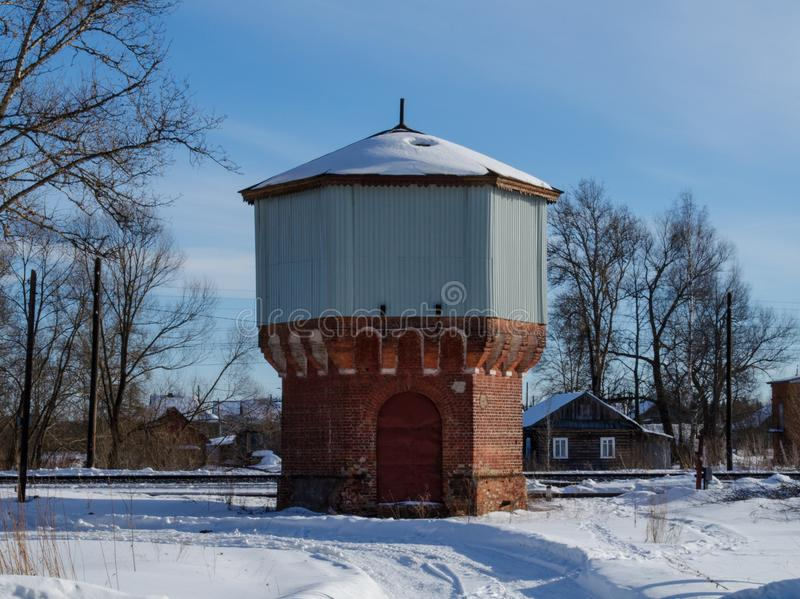 Old water tower made of brick royalty free stock photos