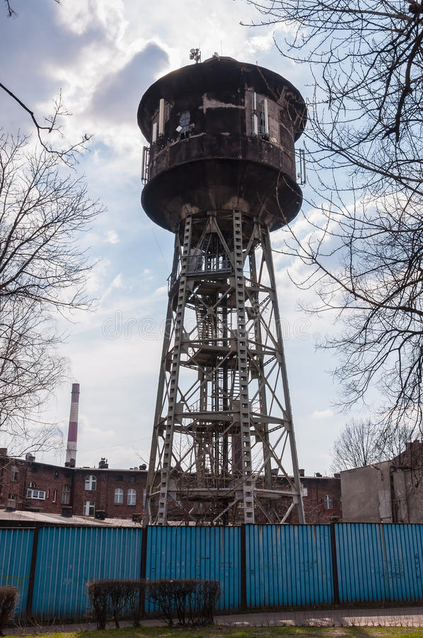 Old water tower in Nikiszowiec district, Katowice, Poland. Old water tower in Nikiszowiec district - historic coal miners settlement in Katowice, Poland royalty free stock images