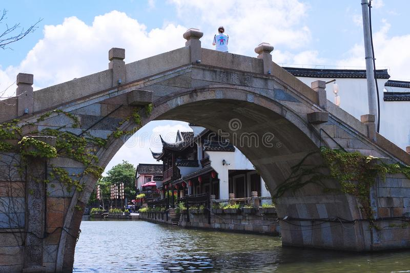 Bridge in the old water town Xitang in east China stock photography