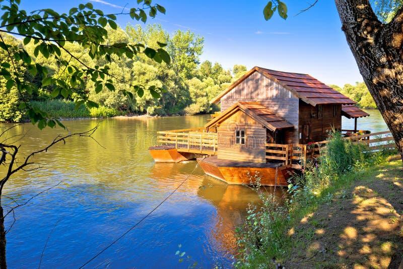 Old watermill on Mura river view. Medjimurje region of Croatia royalty free stock photography