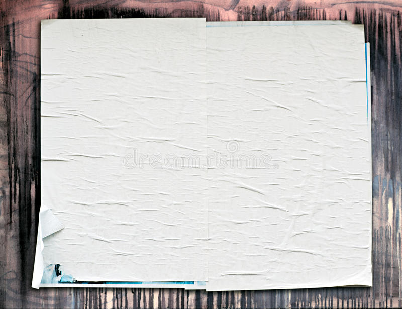 Old weathered blank white poster royalty free stock photos