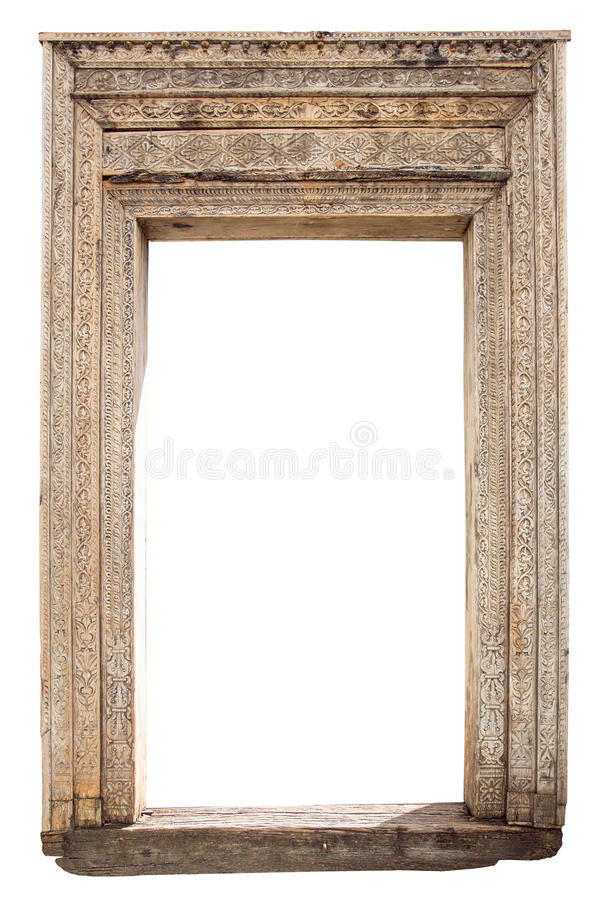 Old Weathered Carved Wooden Door Frame Stock Photo - Image of front ...