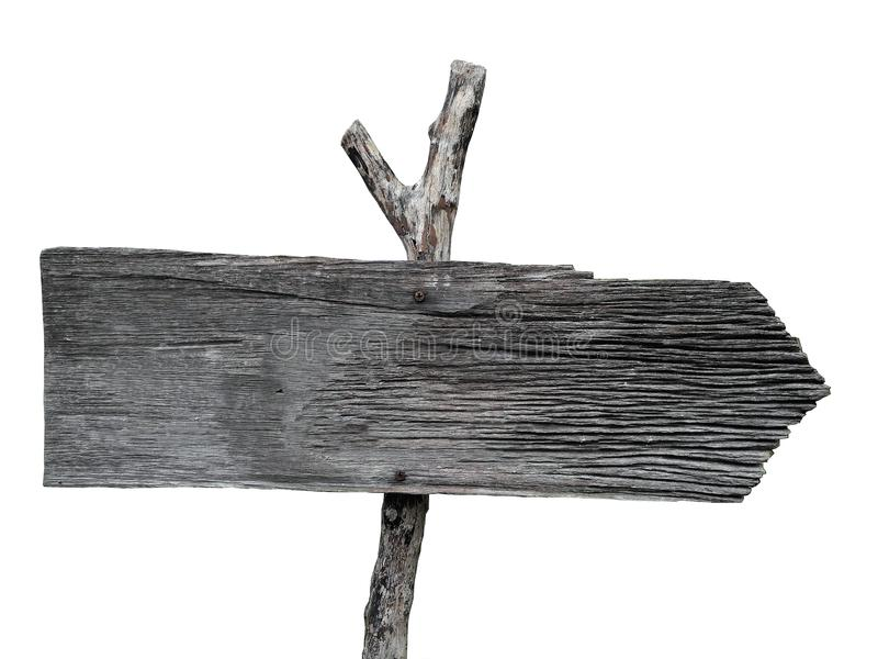 Old weathered coarse texture wooden post right arrow road direct royalty free stock image
