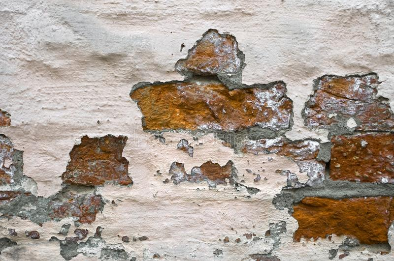 Old weathered clinker wall. Old weathered red clinker wall stock image