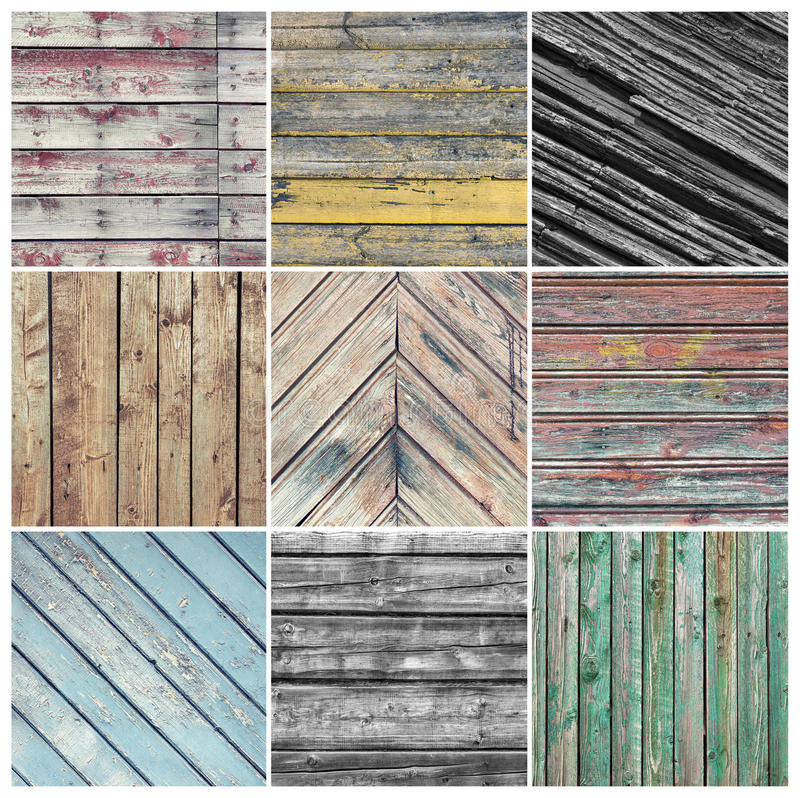 Old weathered wood collage stock photography