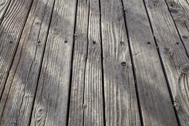 Old weathered wood deck. A low angle view royalty free stock photos