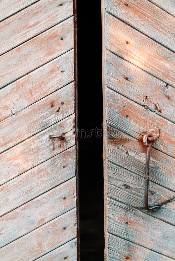 Old weathered door opening royalty free stock photography