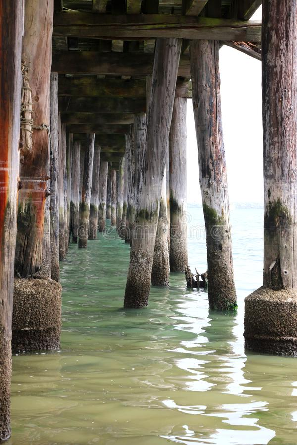 Under view of Romeo Pier, Princeton, California. royalty free stock photography