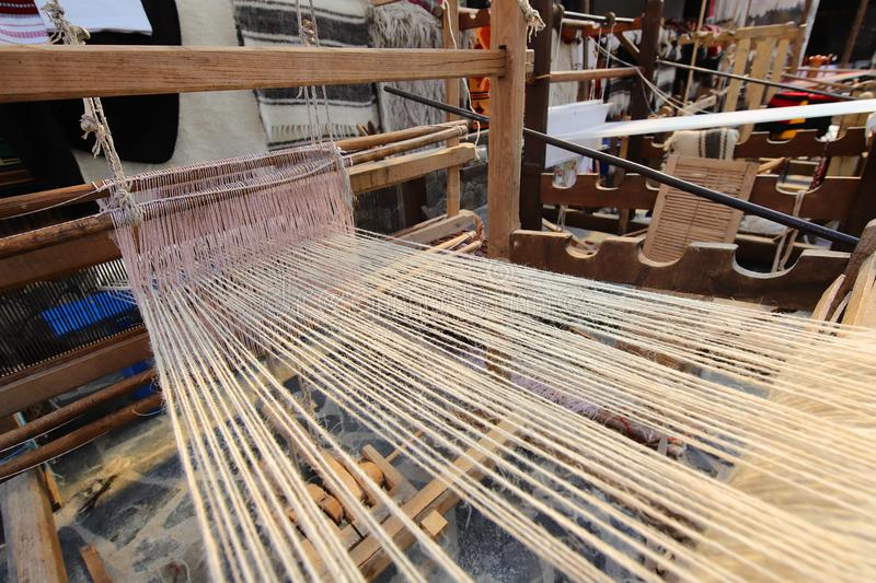 Old weaving loom. In natural light stock photography