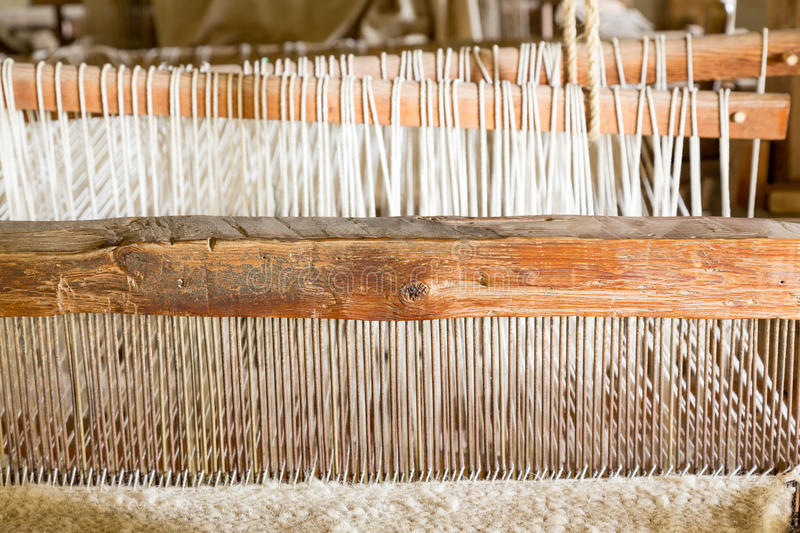 Old weaving loom in spanish mission stock photo